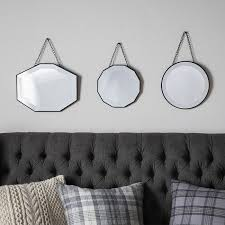 retro hanging mirrors set of 3 wall