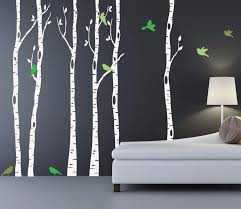 Birch Trees Wall Decal With Bird And Leaves Huge Tree Forest Wall Stickers Decor Home Living Room Wallpaper Mural Art Vinyl A184 Birch Tree Wall Decal Tree Wall Decalwall Decals Aliexpress
