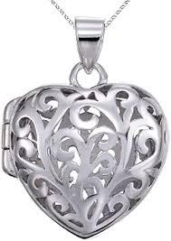 sterling silver rhodium heart filigree