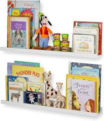Amazon Com Wallniture Denver Floating Shelves For Kids Room Decor 30 White Bookshelf For Picture Frames Toddler Toys Set Of 2 Home Kitchen