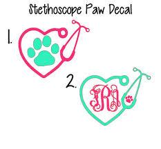 Stethoscope Decal Monogram Stethoscope Decal Vet Tech Decal Etsy