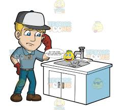 A Man Having Problems With A Leaky Faucet – Clipart Cartoons By ...