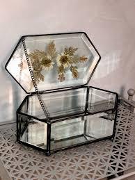 vintage clear glass trinket jewelry box
