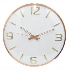 16 round rose gold wall clock