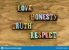 love honesty truth respect trust stock image image of letter