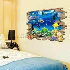 Dolphin 3d Sea Ocean Wall Stickers Vinyl Decal Kid Room Home Decor Art Poster 711081958769 Ebay