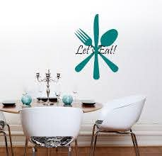 Kitchen Wall Decal Fork Knife And Spoon Art Mural Quote Let S Eat Wall Stickers Removable Vinyl Restaurant Interior Decor Syy368 In Wall Stickers From Home Garden On Aliexpress Com Alibaba Group