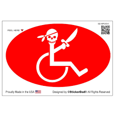 Handicapped Pirate V1 Oval Full Color Printed Vinyl Decal Window Stick Stickerdad Shirtmama
