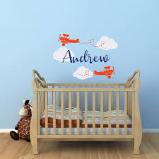 Airplane Wall Decal Personalized Boys Name Airplane Nursery Etsy