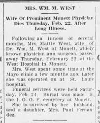 Mattie Shelby West, wife of Dr. West, dies - Newspapers.com