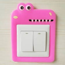 Vova 1pc Cartoon Animal Switch Cover Kids Room 3d Silicone On Off Switch Luminous Switch Outlet Wall Sticker