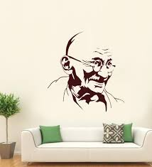 Buy Hoopoe Decor Brown Vinyl Mahatma Gandhi Wall Decal Online People Places Decals Decals Home Decor Pepperfry Product