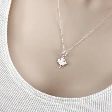 leaf charm necklace canada flag