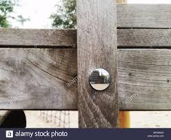 Screw On Wooden Fence Stock Photo Alamy