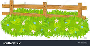 Cartoon Wooden Farm Fence Grass Flowers Stock Vector Royalty Free 747481261