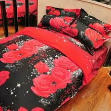 hot red rose pattern 4pcs queen size