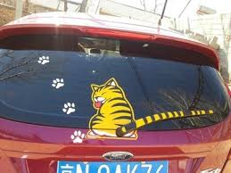 Moving Tail Cat Tail Car Decal 1 Pieces Novelty Car Sticker Yellow Rear Window Reflective Safety 4 Footprint Car Styling I Cat Decal Car Stickers Yellow Cat