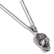 diamond silver skull pendant