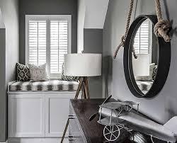 Gray Boys Room With Window Seat Contemporary Boy S Room