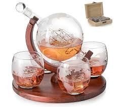 etched world decanter whiskey globe