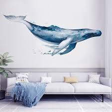 Blue Whale Ocean Wall Sticker Whale Wall Art Whale Wall Decals Interior Wall Decor