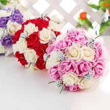 10 رؤساء 5 رؤساء بوكيه ورد صناعي الزهور الزفاف العروس باقة بولي
