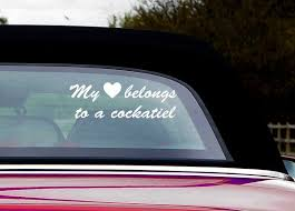 Cockatiel Lover Car Window Vinyl Decal Love My Bird Parrot Etsy