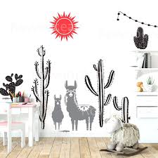 Llama And Cactus Wall Decal Desert Wall Decal Cactus Nursery Decor For Kids Bedroom Wallpaper Wall Art Murals F848 Wall Stickers Aliexpress