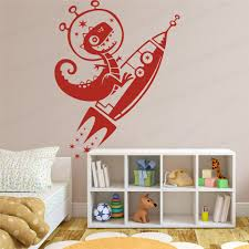 Large Dinosaur Rockets Star Wall Sticker Kids Room Bedroom Cartoon Dino Rocket Space Wall Decal Living Room Vinyl Home Wl202 Wall Stickers Aliexpress