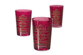 moroccan tea glasses red tunis set of