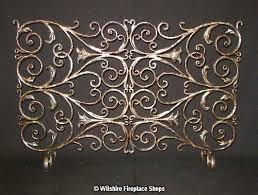 screen 4 panel wrought iron gold brass