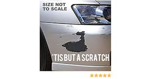 Amazon Com Owntheavenue Tis But A Scratch Sticker Decal Funny Jdm Car Scratch Bumper Racing Drifting Vc Wht 8 Automotive