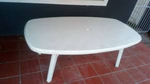 plastic patio or garden table used