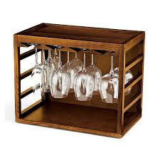 cube stack wine glass rack walnut