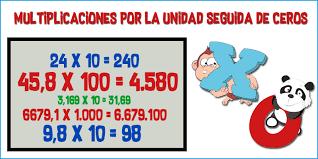 Resultado de imagen de multiplicar decimales por la unidad seguida de ceros