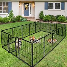 Amazon Com Giantex 40 48inch Dog Playpen With Door 16 8 Panel Pet Playpen For Large And Small Dogs Portable Foldable Freestanding Dog Exercise Pens Metal Dog Playpen Indoor Outdoor 16 Panels 40 Pet Supplies