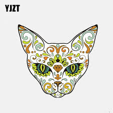 Yjzt 12 9cm 11 9cm Sugar Skull Cat Day Of The Dead Car Sticker Motorcycle Helmet Window Decal 6 3077 Car Stickers Aliexpress