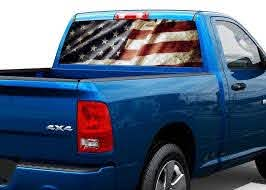 Product Patriotic American Flag Vintage Rear Window Decal Sticker Pick Up Truck Suv Car