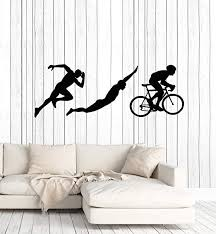 Amazon Com Vinyl Wall Decal Triathlon Sports Silhouettes Athlete Running Swimming Cycling Stickers Mural Large Decor Ig5246 Home Kitchen