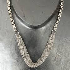 liquid metal and chain necklace