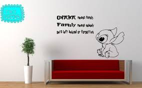 Vinyl Decal Lilo Stitch Ohana Means Family Quote Wall Decal Lilo And Stitch Ohana Family Wall Quotes Wall Quotes Decals