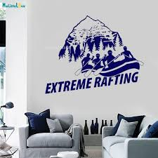 Waliicorners Mountains View Wall Vinyl Decal White Water Rafting Quote Extreme Nature Sports Modern Home Decor Removable Murals Yt1389 Waliicorner S Store