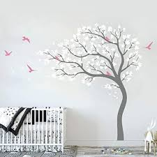 Amazon Com Runtoo Large Tree Wall Decal White Tree Blowing In The Wind Wall Art Stickers Living Room Bedroom Nursery Wall Decor Kitchen Dining
