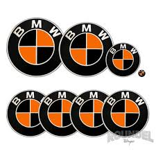 For Bmw Badge Orange Black Decals Vinyl Wrap Sticker Roundel Etsy