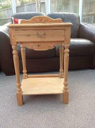 small pine side console table with