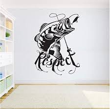 Amazon Com Home Decor Vinyl Sticker Fishing Wall Decal Kids Room Bass Fish Sticker Fishing Decal Interior Wallpaper 42x57cm Kitchen Dining