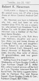 OBITUARY: Robert K. Newman listing surviving relatives. - Newspapers.com