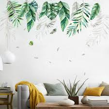 Nordic Tropical Green Leaves Wall Art Mural Removable Pvc Wall Decals For Living Room Diy Wall Art Decoration Nordicwallart Com
