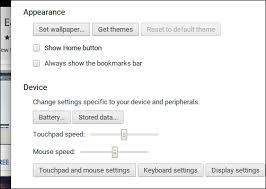 appearance settings on a chromebook