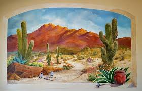 Wall Mural Painting A Walk In The Desert Wall Mural By Marilyn Smith Desert Painting Mural Painting Mural
